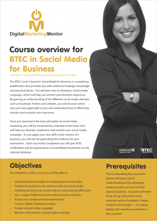 BTEC Level 3 in Social Media for Business